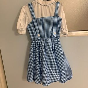 Dorothy costume dress size L & ribbon for hairbows
